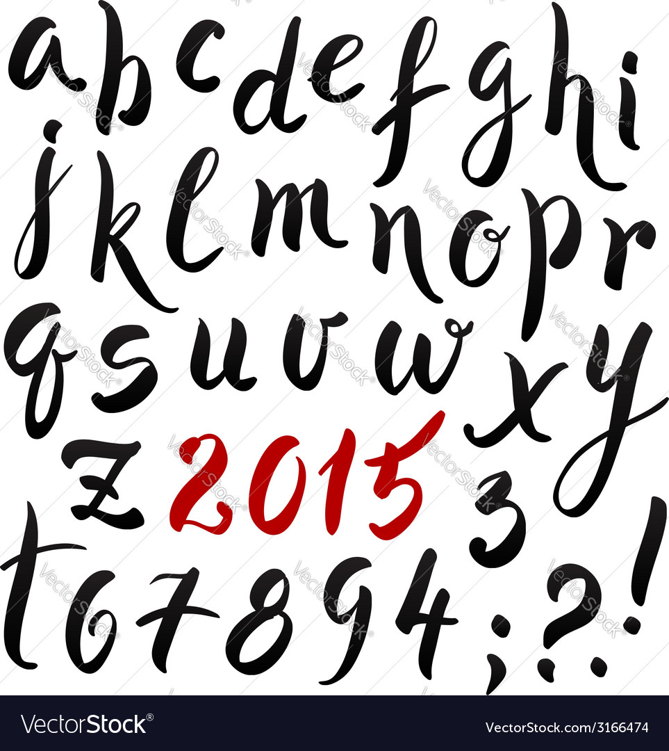 Black and red hand writing lettering alphabet vector