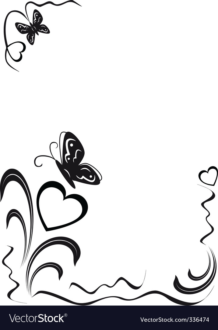 Butterfly hearts and floral ornamen vector
