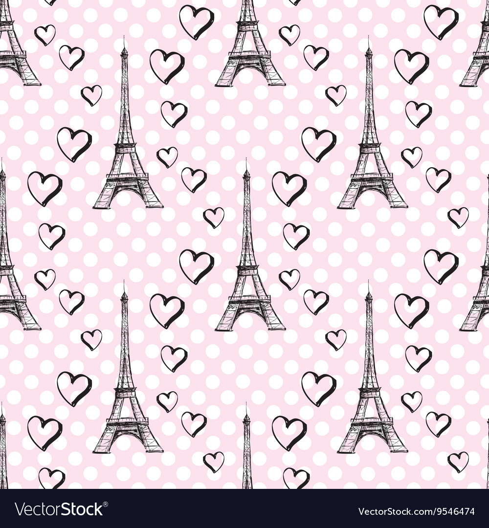 Seamless pattern eiffel tower with hearts vector