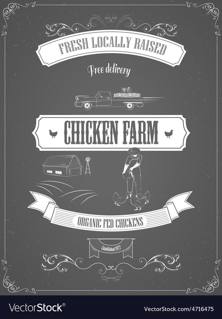 Chicken farm vintage advertisement poster vector