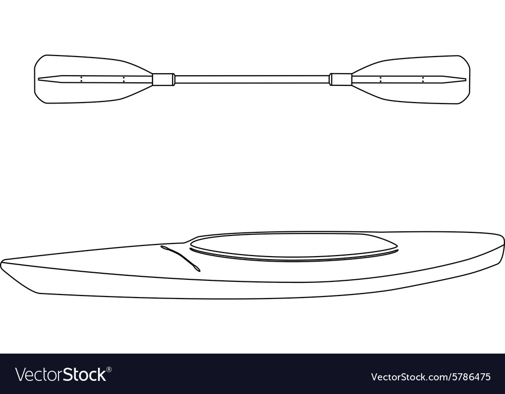 Kayak boat and oar vector