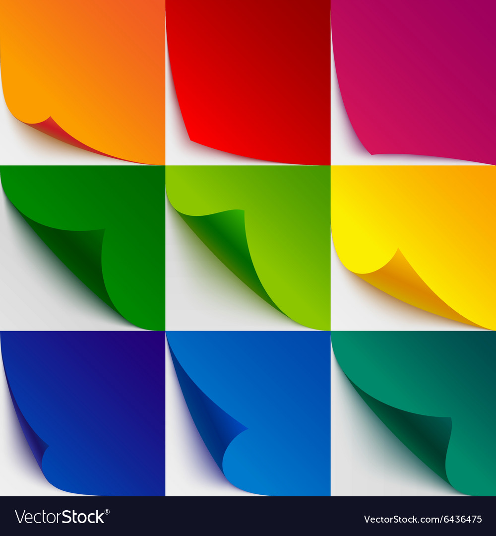 Set of 9 colorful paper curled corners and page vector