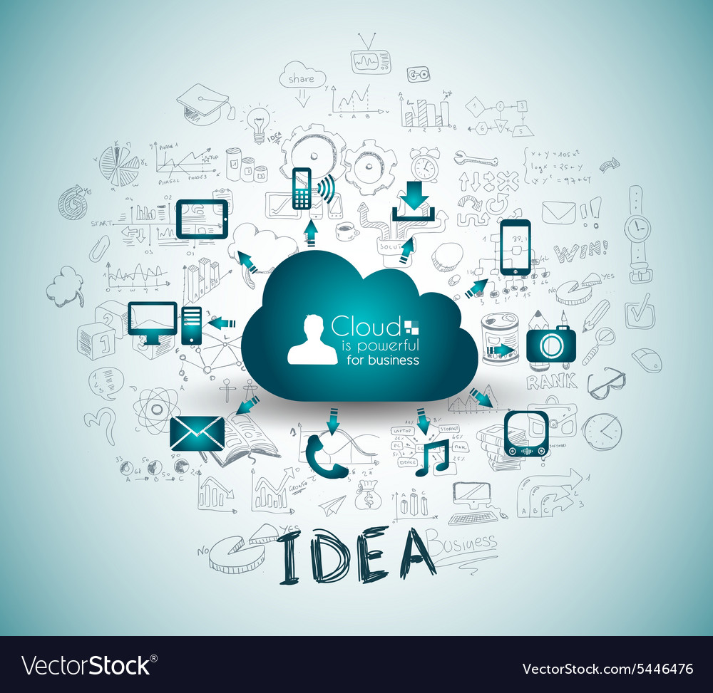 Cloud computing with business doodles sketch vector