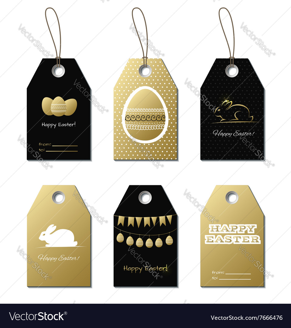 Easter gold gift tags with bunny and eggs vector