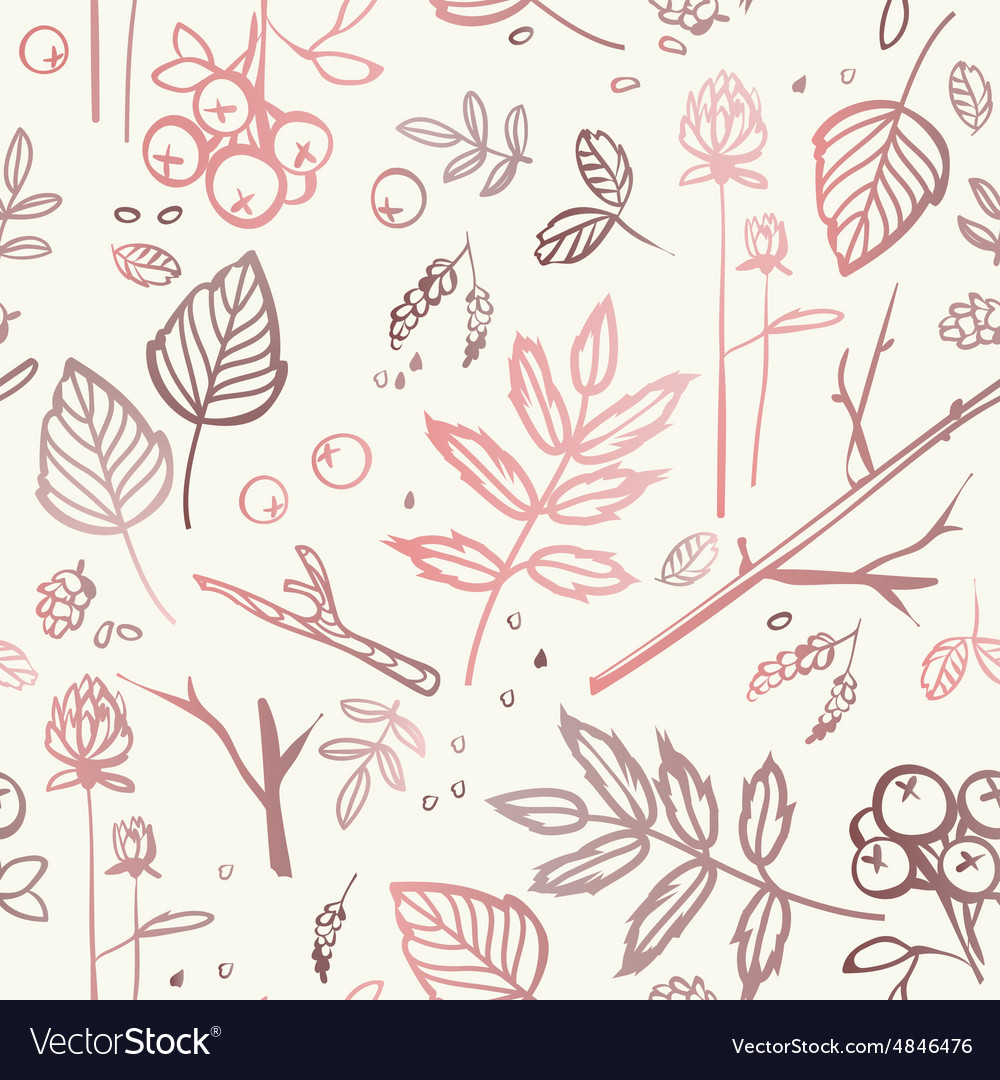 Seamless pattern with leaves branches berries bump vector