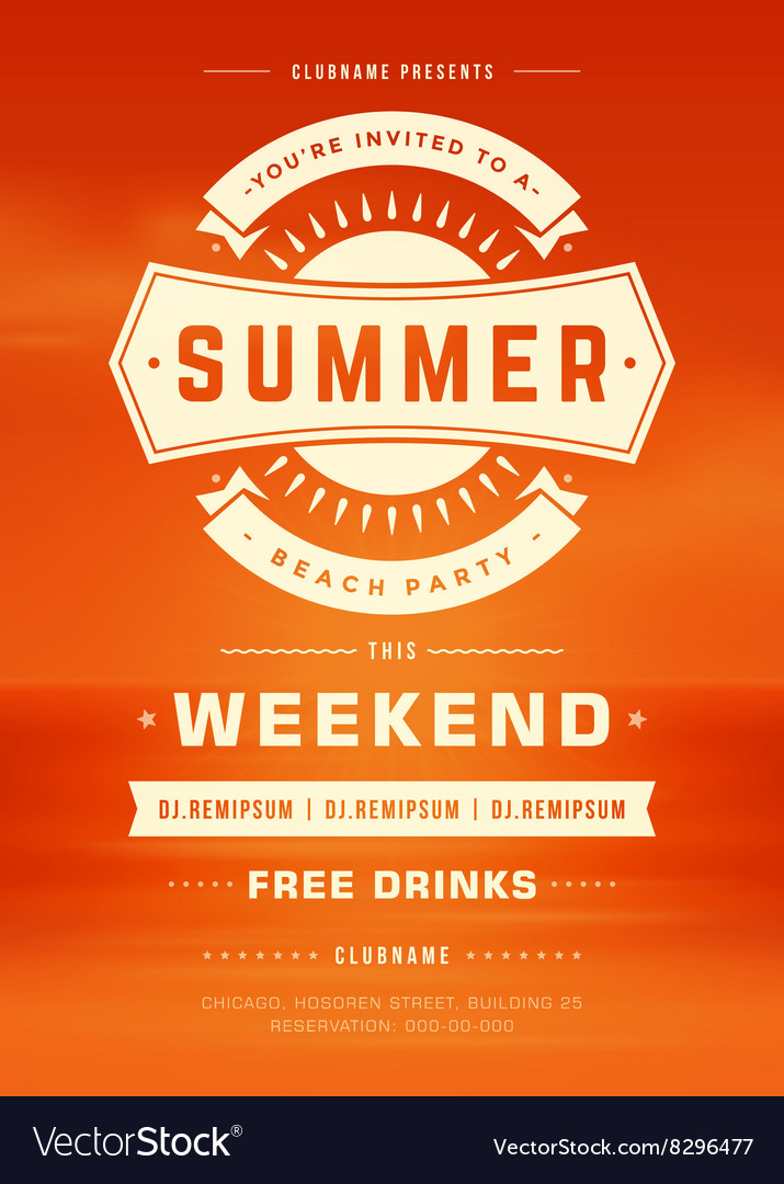 Retro summer holidays beach party poster or flyer vector
