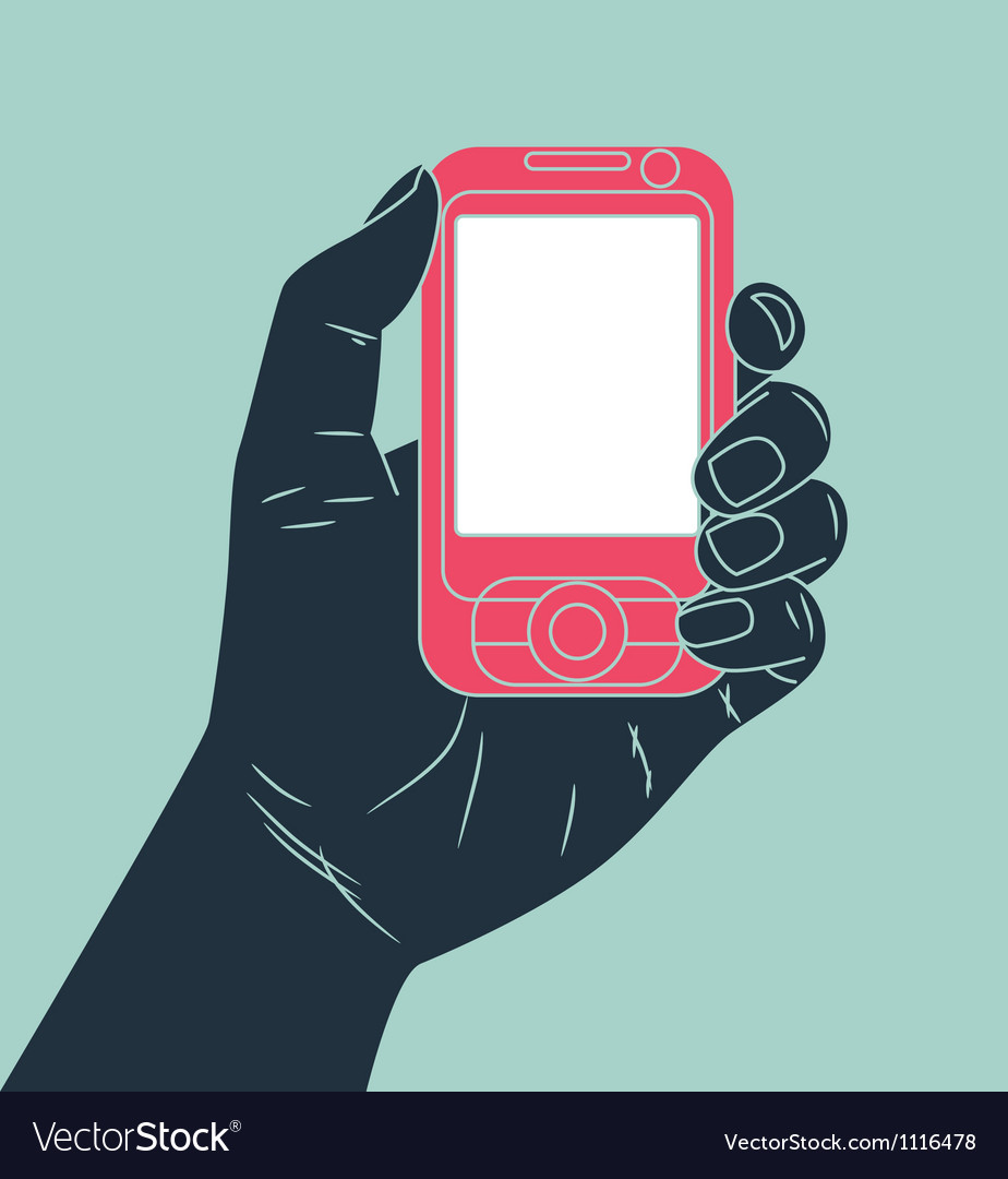 Hand holding cell phone vector
