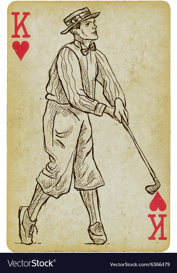 Playing card king  vintage golfer an man freehand vector