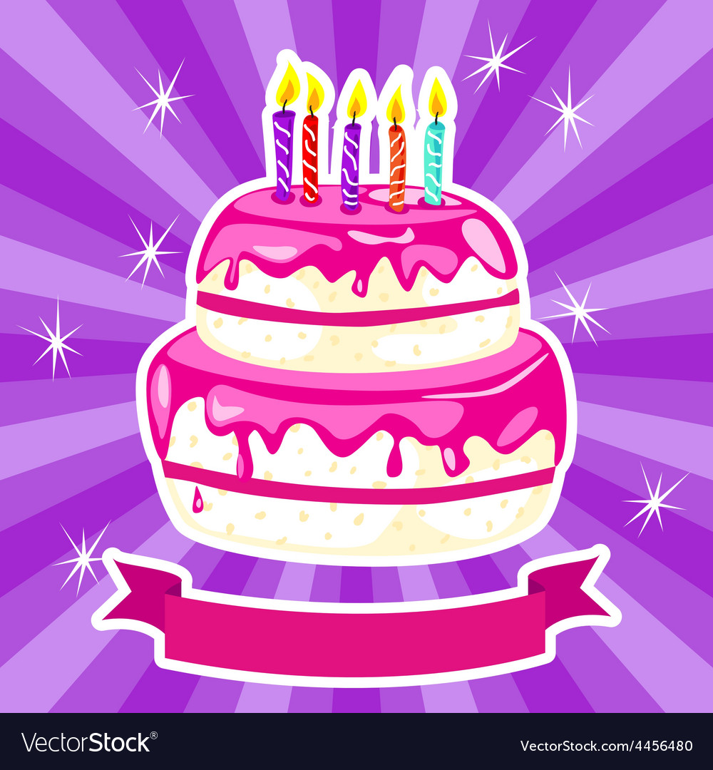 Birthday cake in pink vector