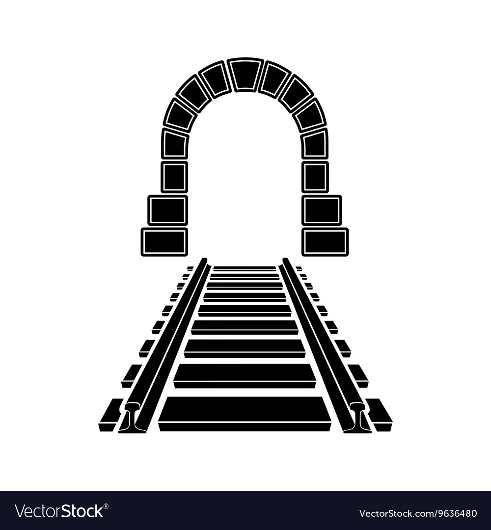 Mountain tunnel and railroad icon simple style vector