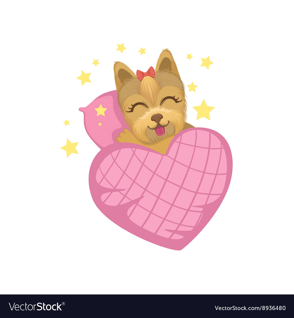 Puppy in bed with heart shape blanket vector