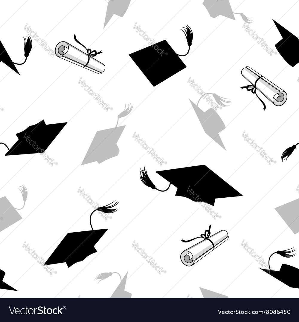 Seamless pattern with graduation caps vector