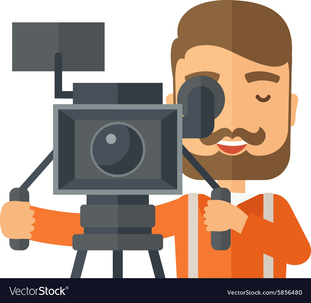 Videographer and his video cam with tripod vector