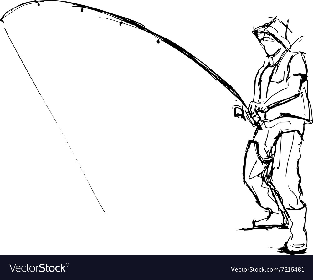 Hand pen sketch fishermen vector