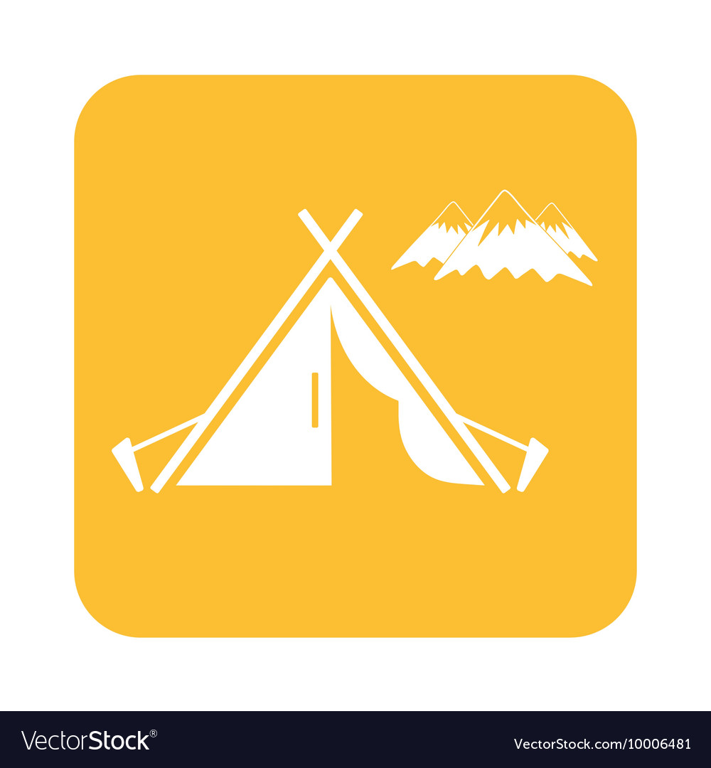 Tent mountains icon vector