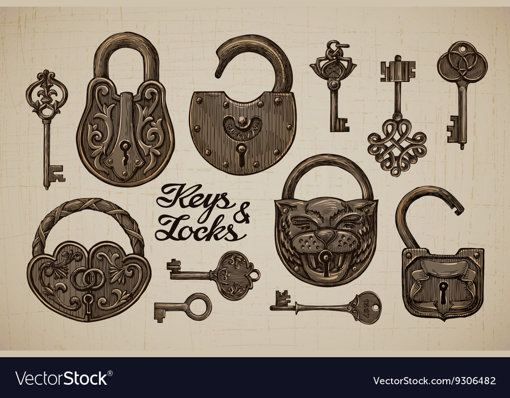 Vintage keys and locks handdrawn collection of vector