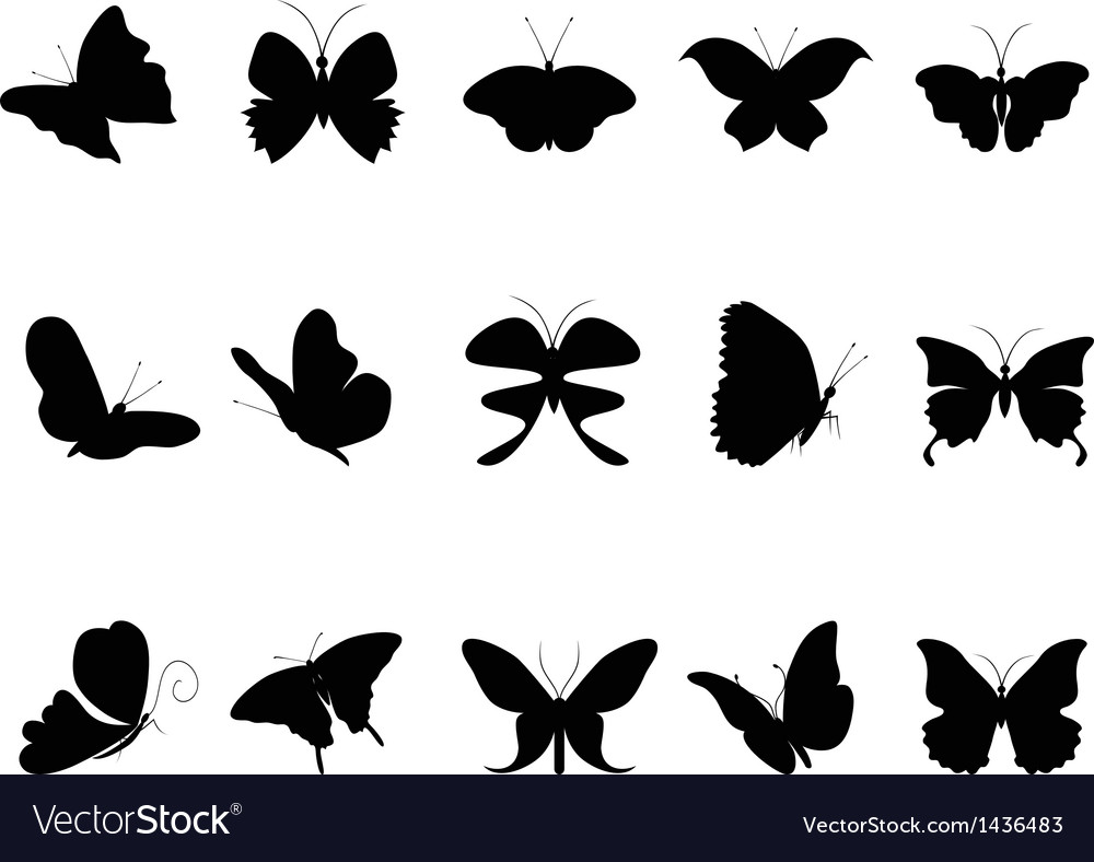 Butterflies silhouette collection vector