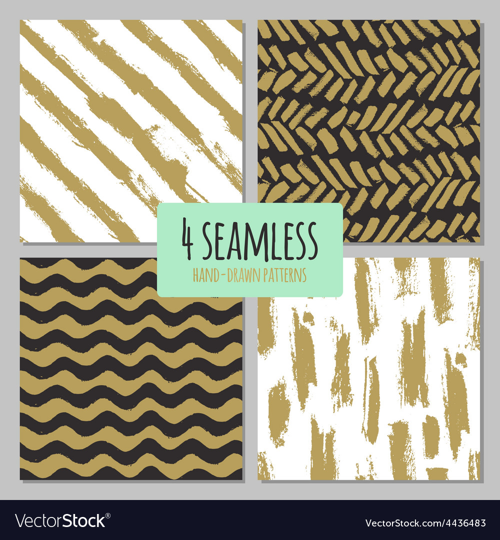 Set of 4 hand drawn seamless trendy patterns with vector