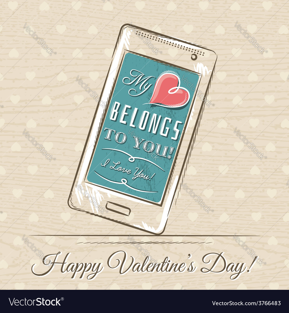 Valentine card with smartphone and red heart vector