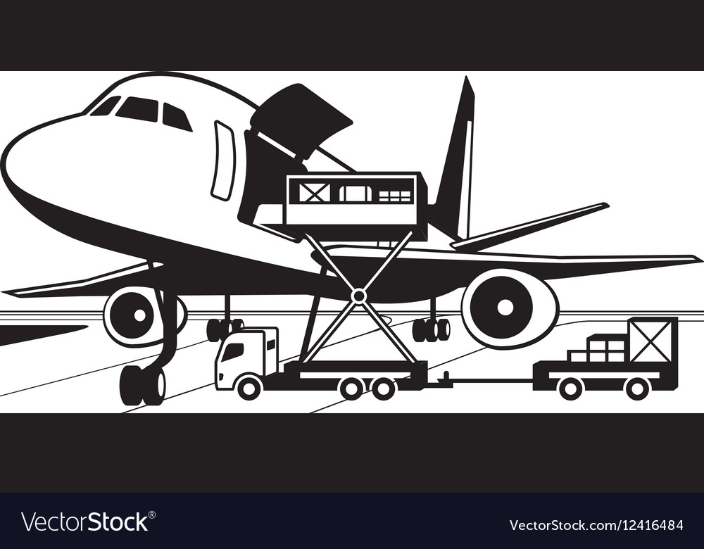Crane truck loading cargo airplane vector