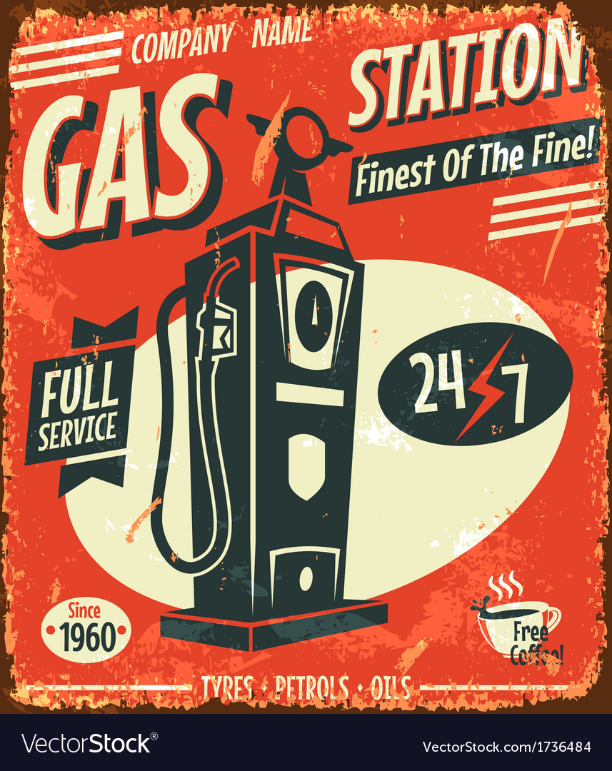 Grunge retro gas station sign vector