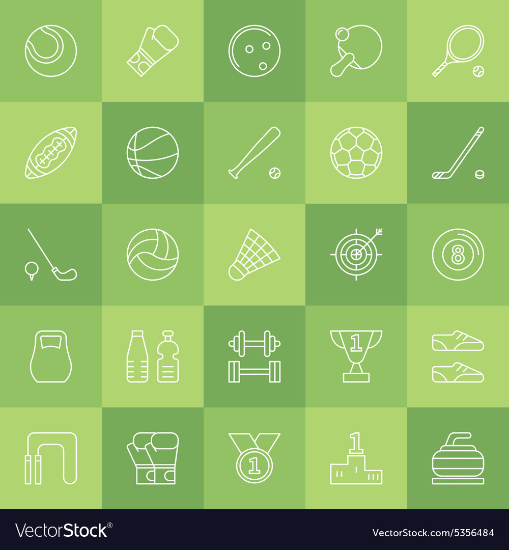 Sports line icons vector