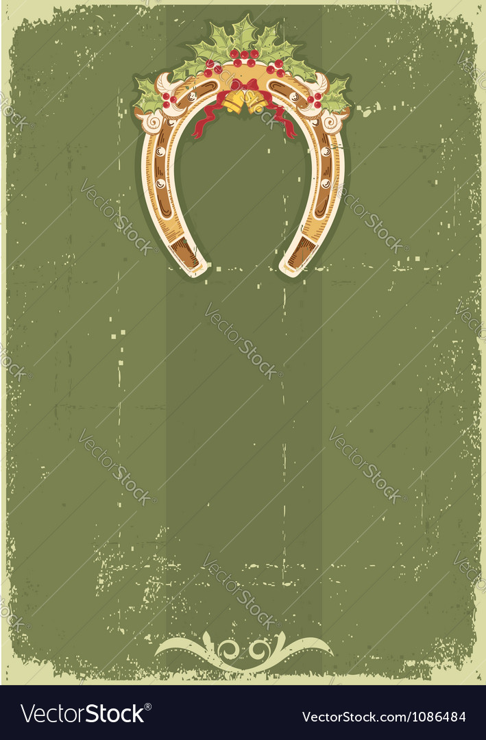 Vintage christmas horseshoe background with holly vector