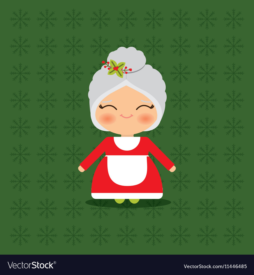 Merry christmas card mrs claus vector