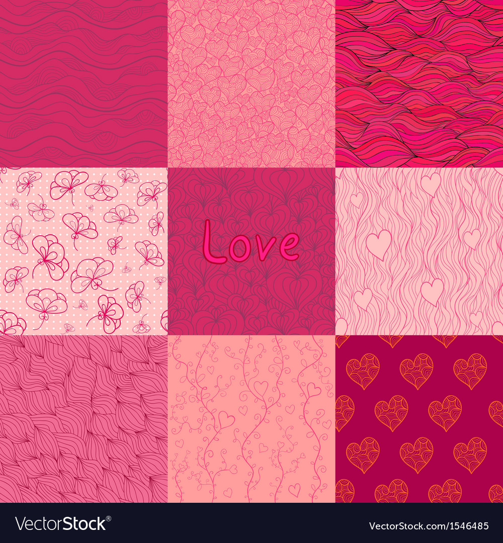 Set of seamless patterns of rosy and purple colors vector