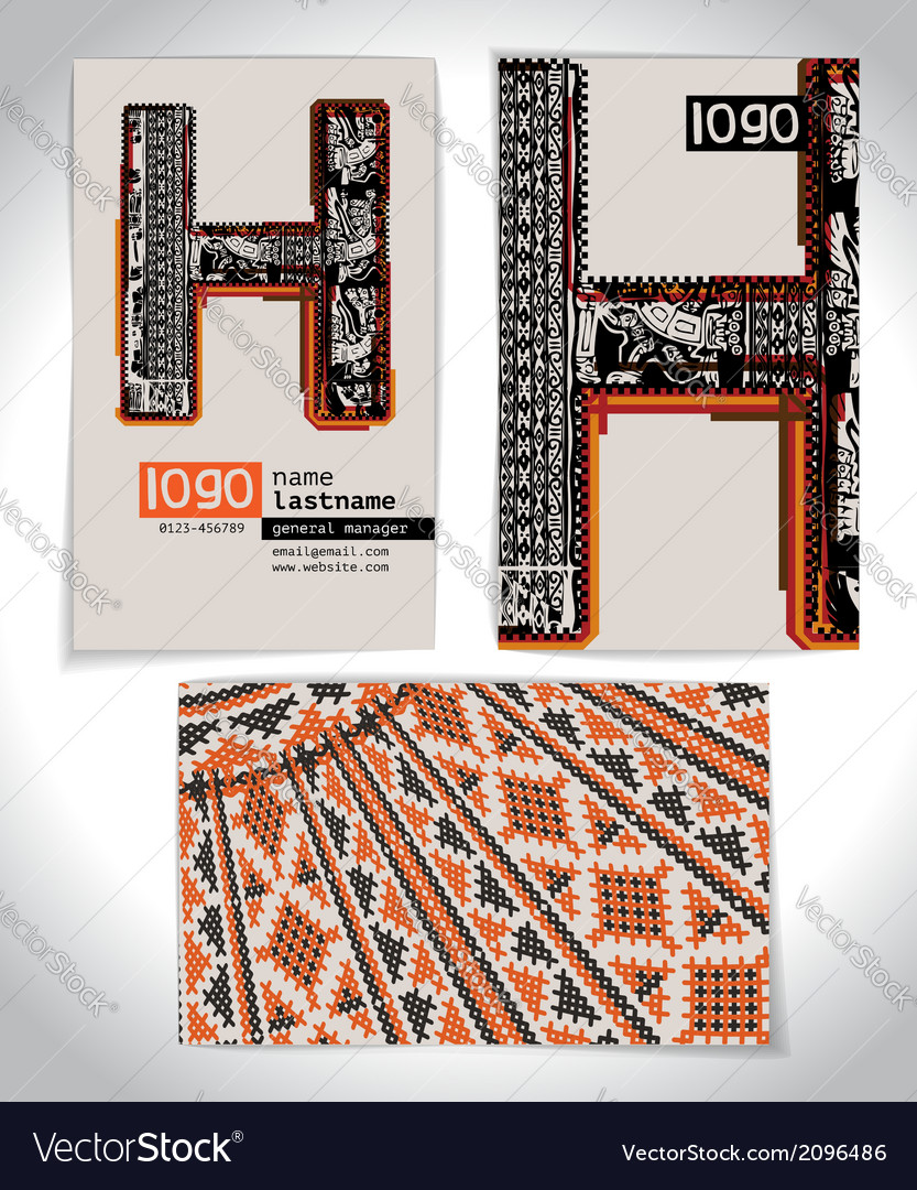 Ancient business card design letter h vector