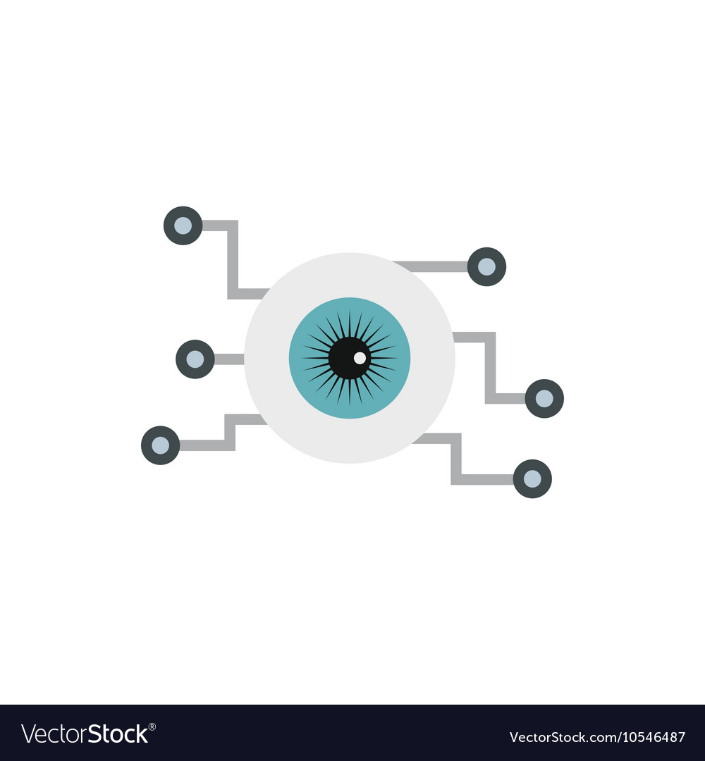 Cyber eyes icon flat style vector
