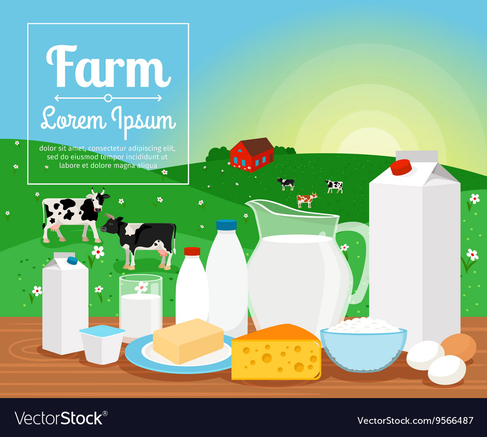 Milk farm dairy products vector