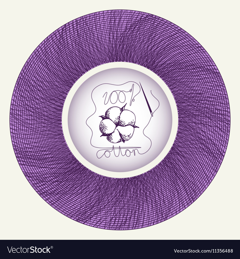 Cotton flower in needle spool vector