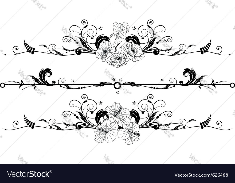 Set of the floral banners vector