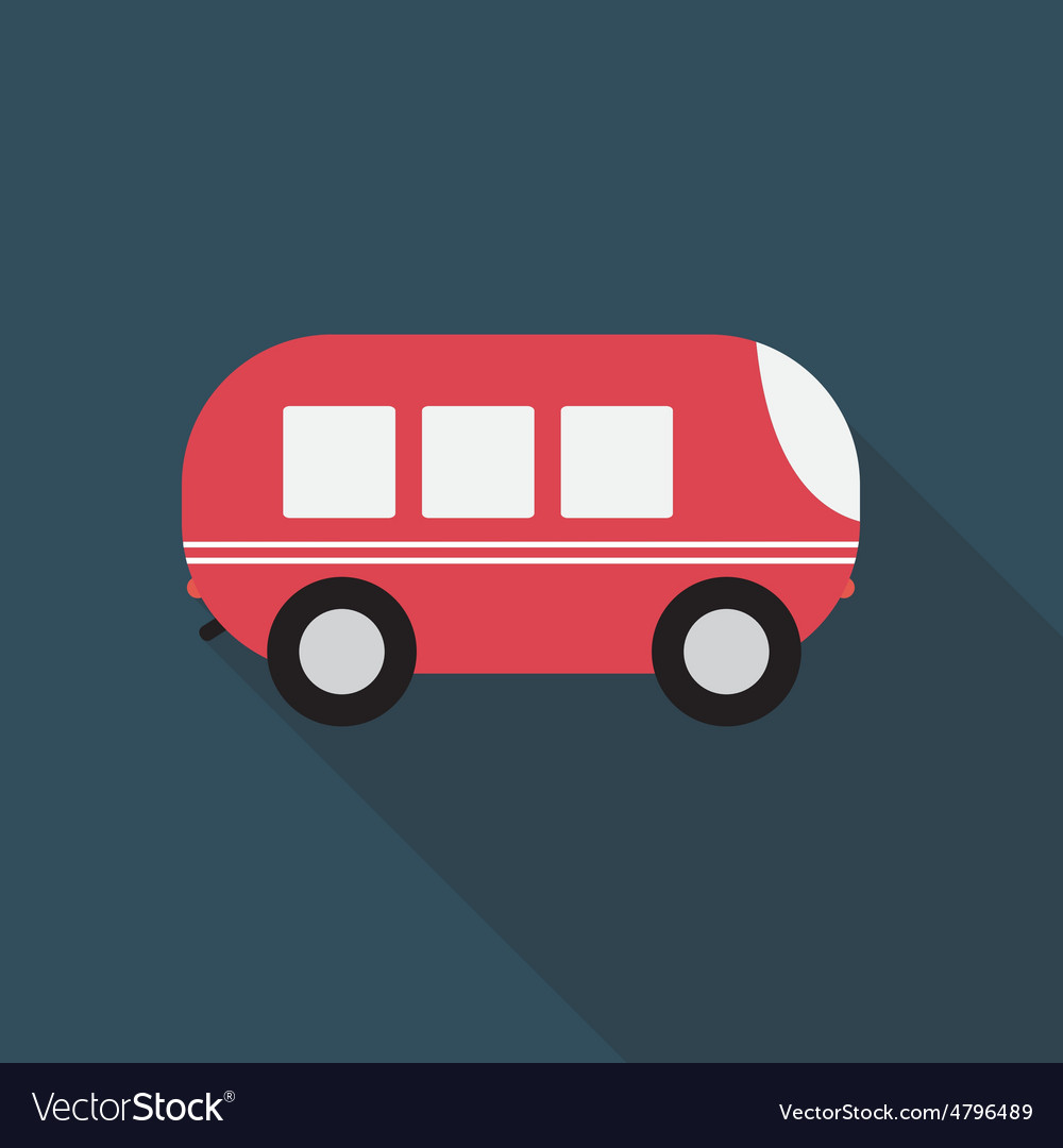 Bus flat icon with long shadow vector
