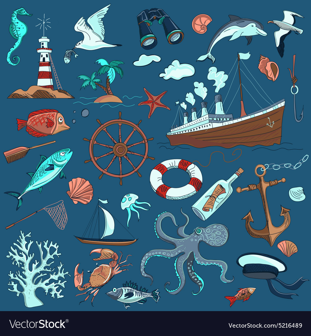 Colored handdrawn elements of marine theme vector