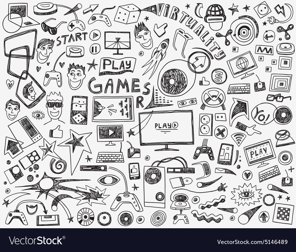 Computer games  doodles collection vector