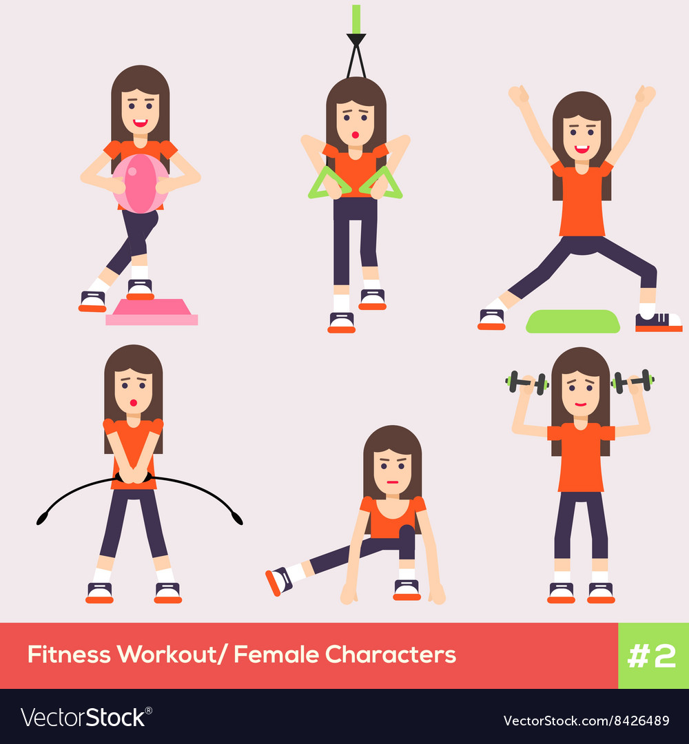 Exercises carachters women 2 vector
