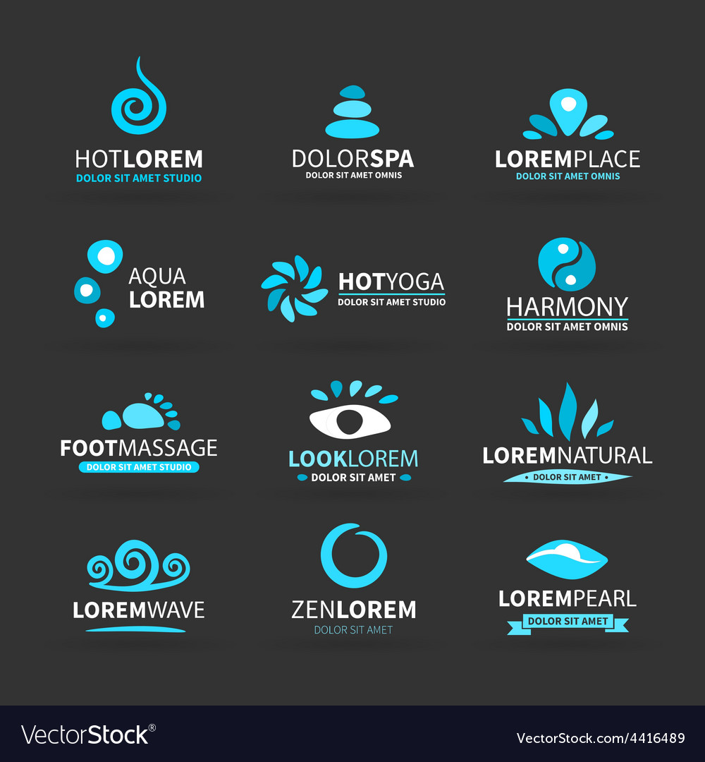 First big set of spa hot yoga zen massage logo vector