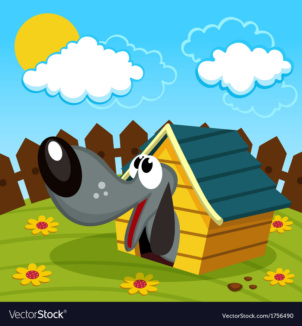 Dog in the home vector