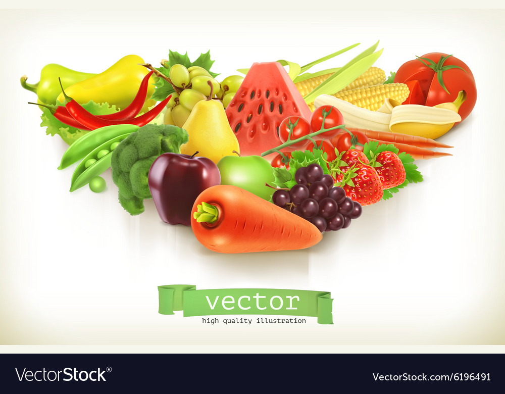 Healthy food fruits and vegetables vector