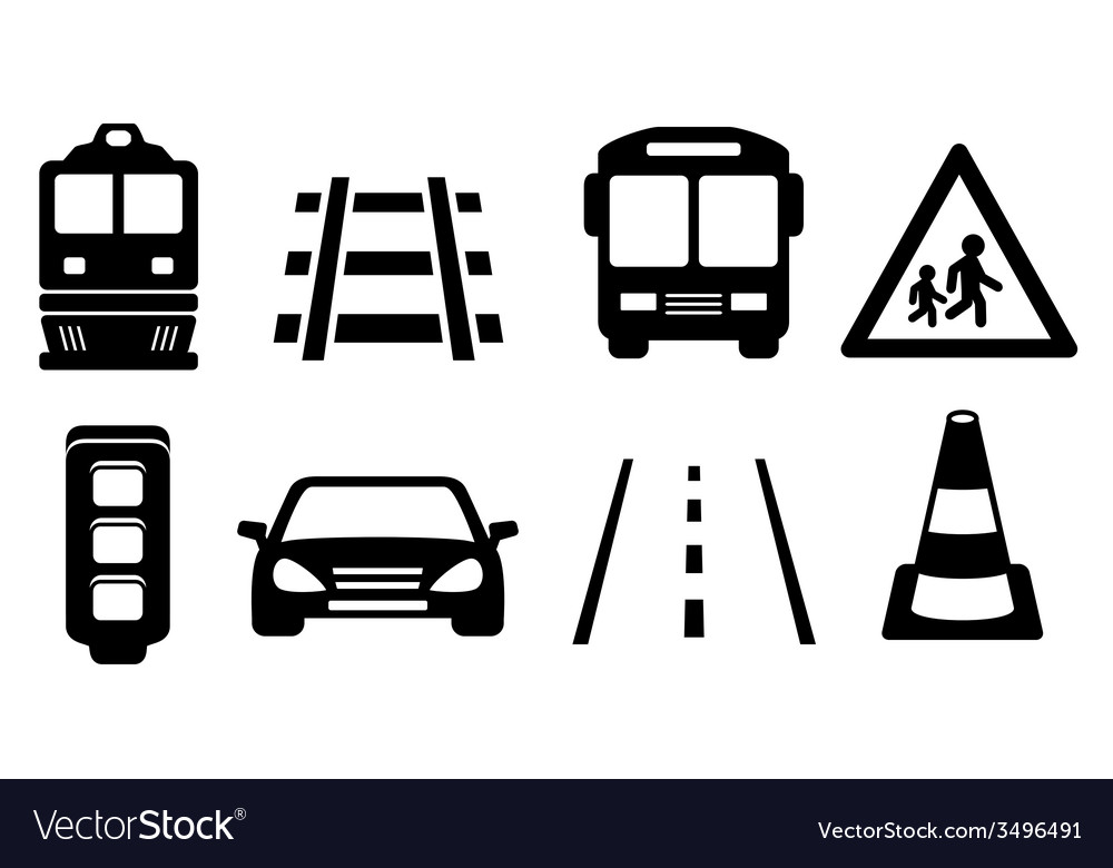 Road icons set vector