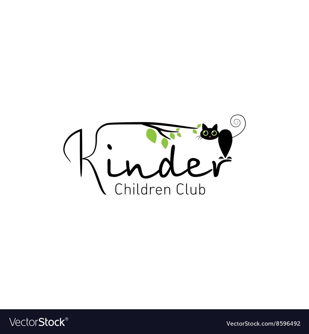 Kinder  logo children club with fun cat vector