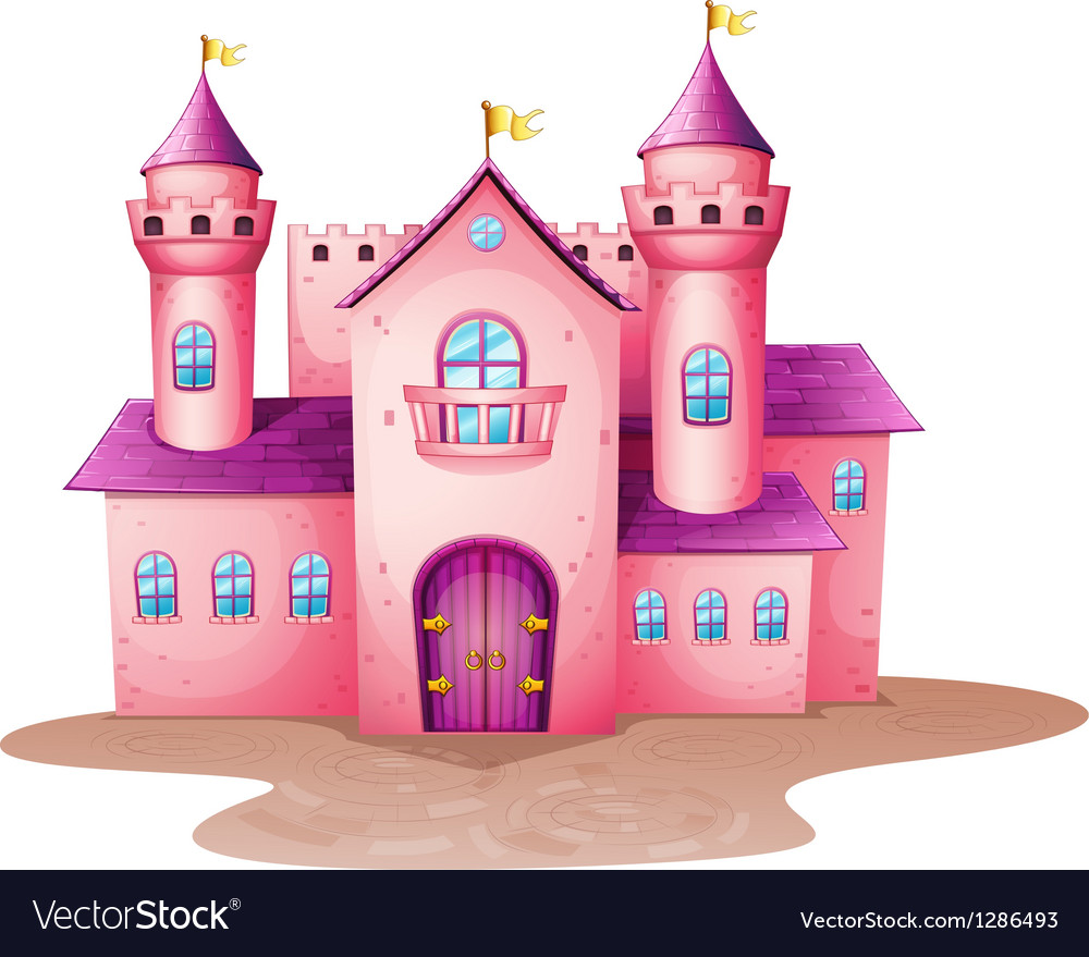 A pink colored castle vector