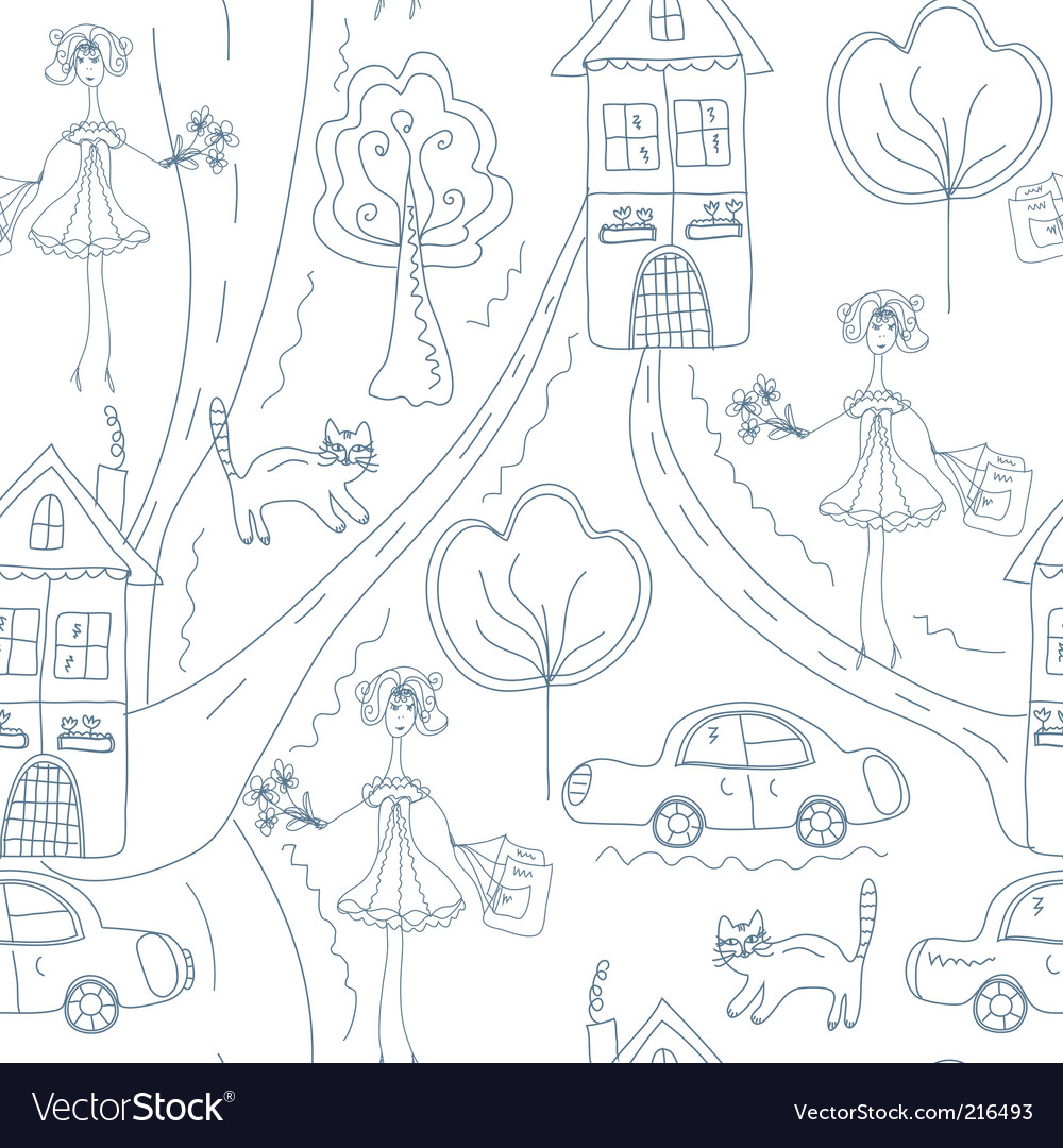 Seamless cute pattern with girl vector