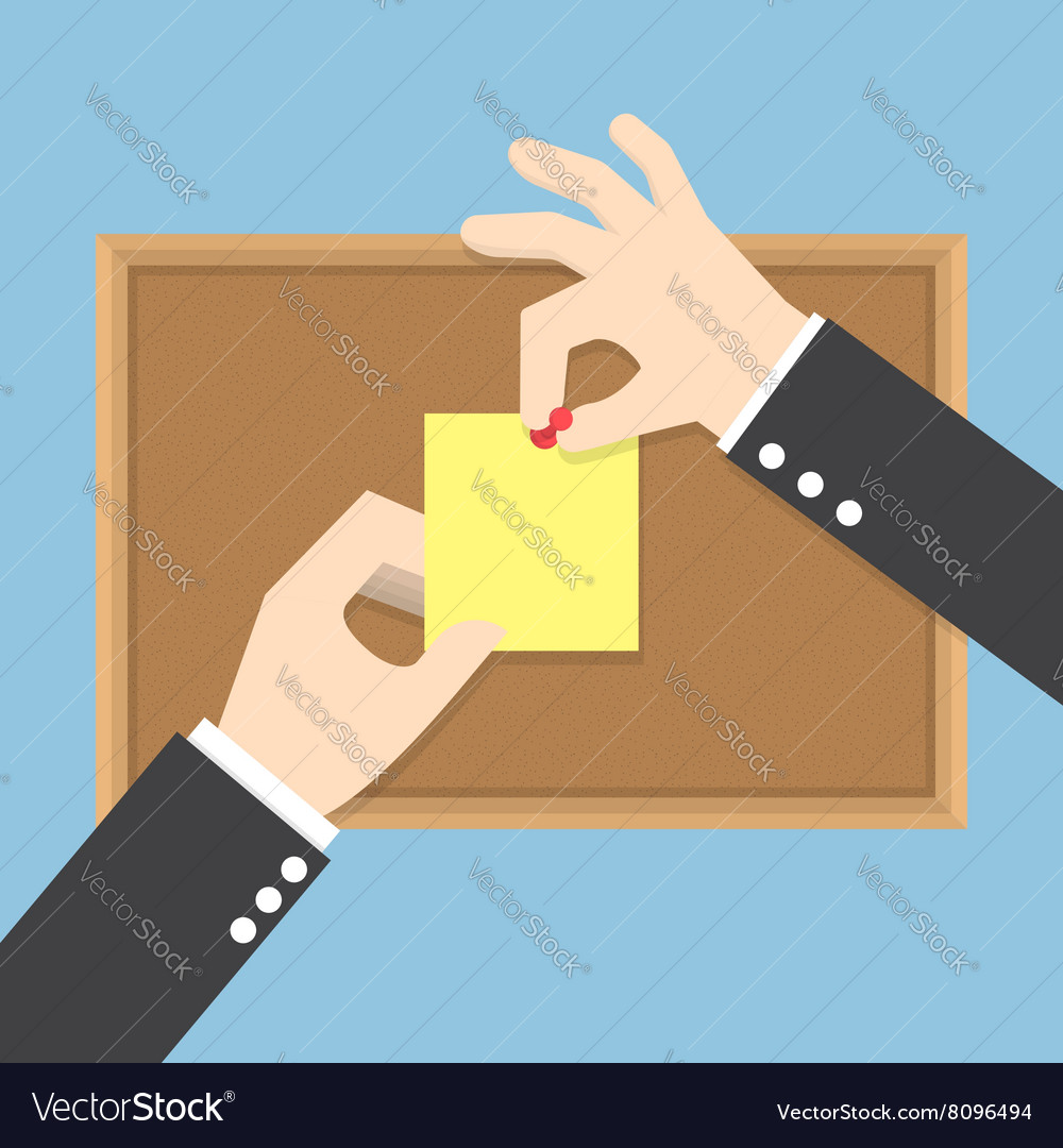 Businessman hands pin sticky notes on cork bulleti vector