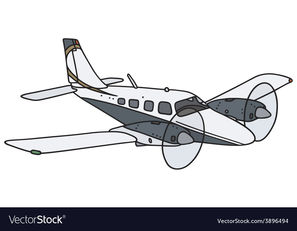 Twin engine airplane vector