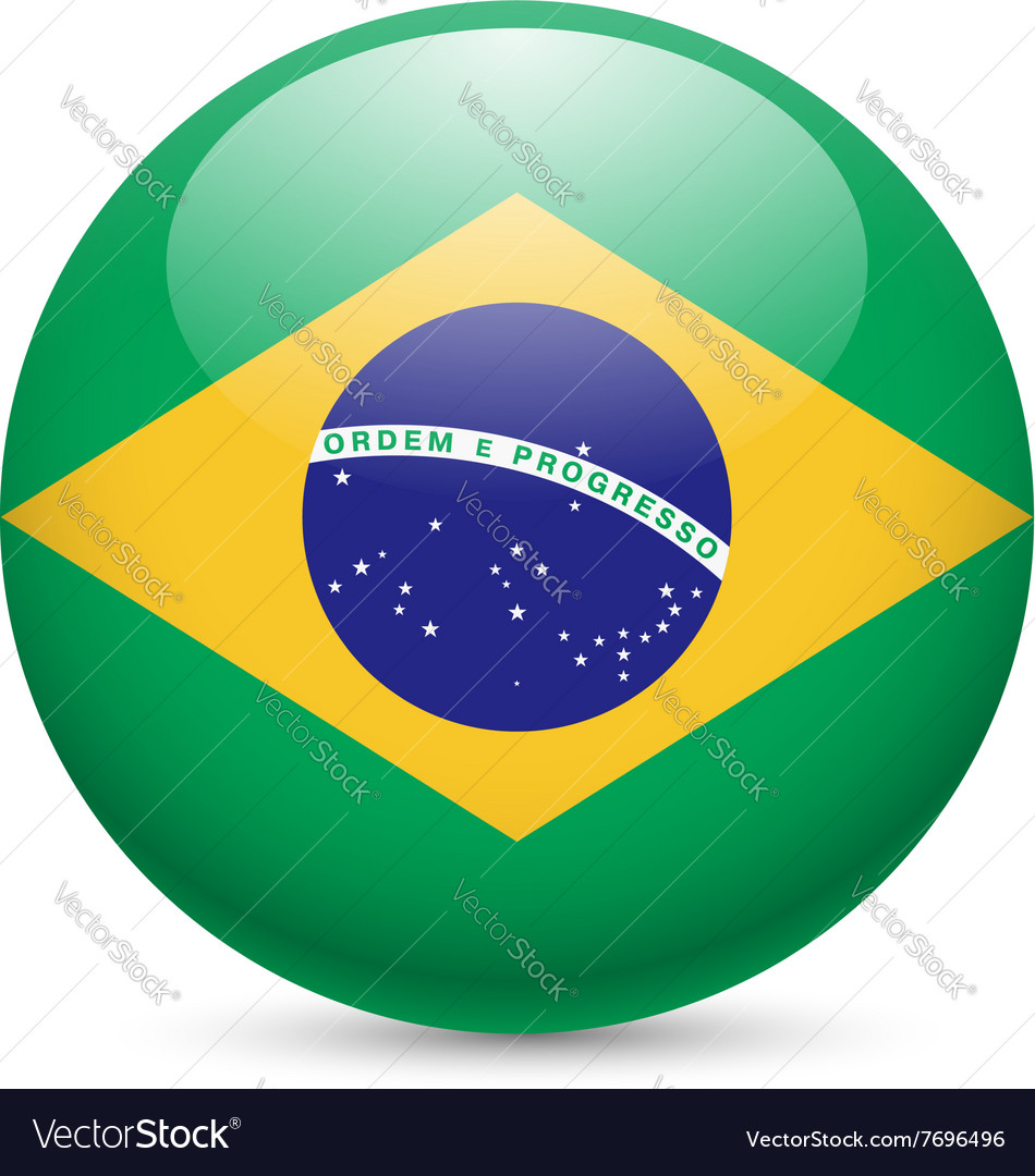 Round glossy icon of brazil vector