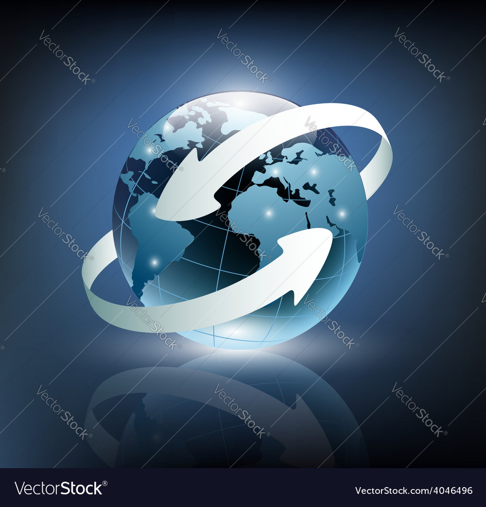 Two arrows wrapped around the earth vector