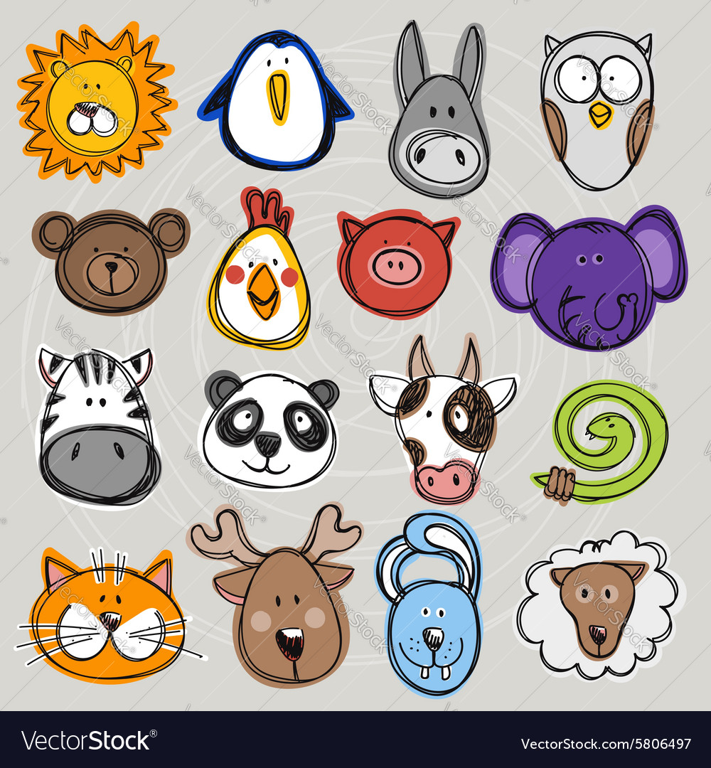 Set of hand drawn funny doodle animals sketch vector